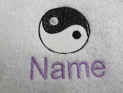 Toalla de baño con un YING YANG Logo y nombre de tu elección, 70 x