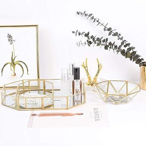 Sunnyday Nordic Brass Retro Almacenamiento Bandeja de Oro de Cristal Pol/ígono de Maquillaje Organizador Bandeja Placa de Postre exhibici/ón de la joyer/ía Inicio decoraci/ón de la Cocina