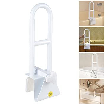 AW Bathtub Grab Bar Safety Rail Adjustable Lock To Tub Side Clamp On Handle  440lbs Support