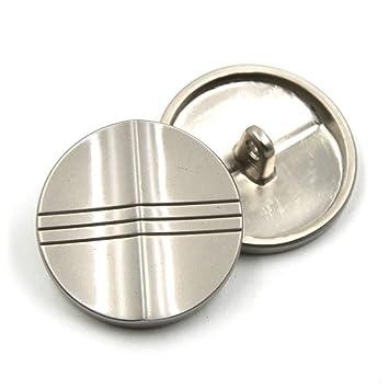 Paquete de 10 botones metálicos de alta calidad para chaquetas de trajes, abrigos, camisas o manualidades, Plateado, 25 mm: Amazon.es: Hogar
