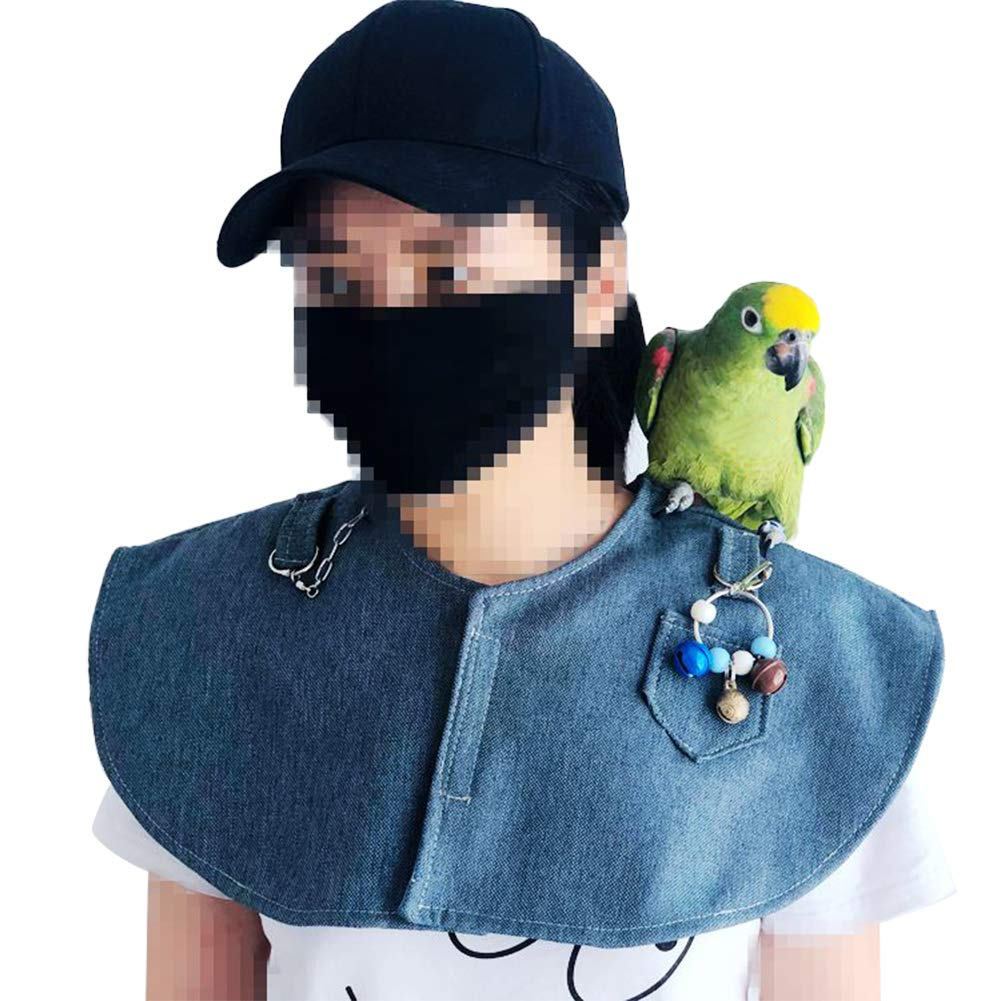 Parrot Anti-Scratch Shoulder Protector Hang Bird Anklet&Toys, Multi-Functional Pet Shoulder Pad Diaper Shawl for Small Medium Parakeets Cockatiels, Sun Conures, Macaws Love Birds, Finches Lovebird by QBLEEV