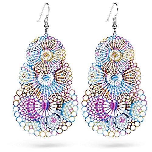 Funky Lightweight Bohemian Geometric Drop Earrings | Fashion Statement For Women & Girls