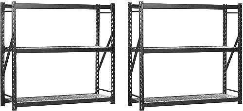 Sandusky Muscle Rack ERZ772472WL3 Black Heavy Duty Steel Welded Storage Rack, 3 Shelves, 1,000 lb. Capacity per Shelf, 72 Height x 77 Width x 24 Depth Pack of 2