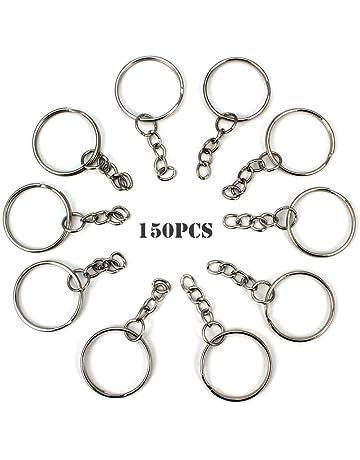 RUBY - 150 Anillas para llavero con cadena, bases de llaveros para artesanía (Plateado