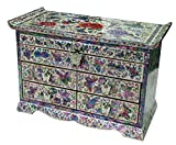 Mother of Pearl Peony Flower Design Jewelry Box Display with 4 Drawers Nacre Jewellry Case 2 Colors (Red)
