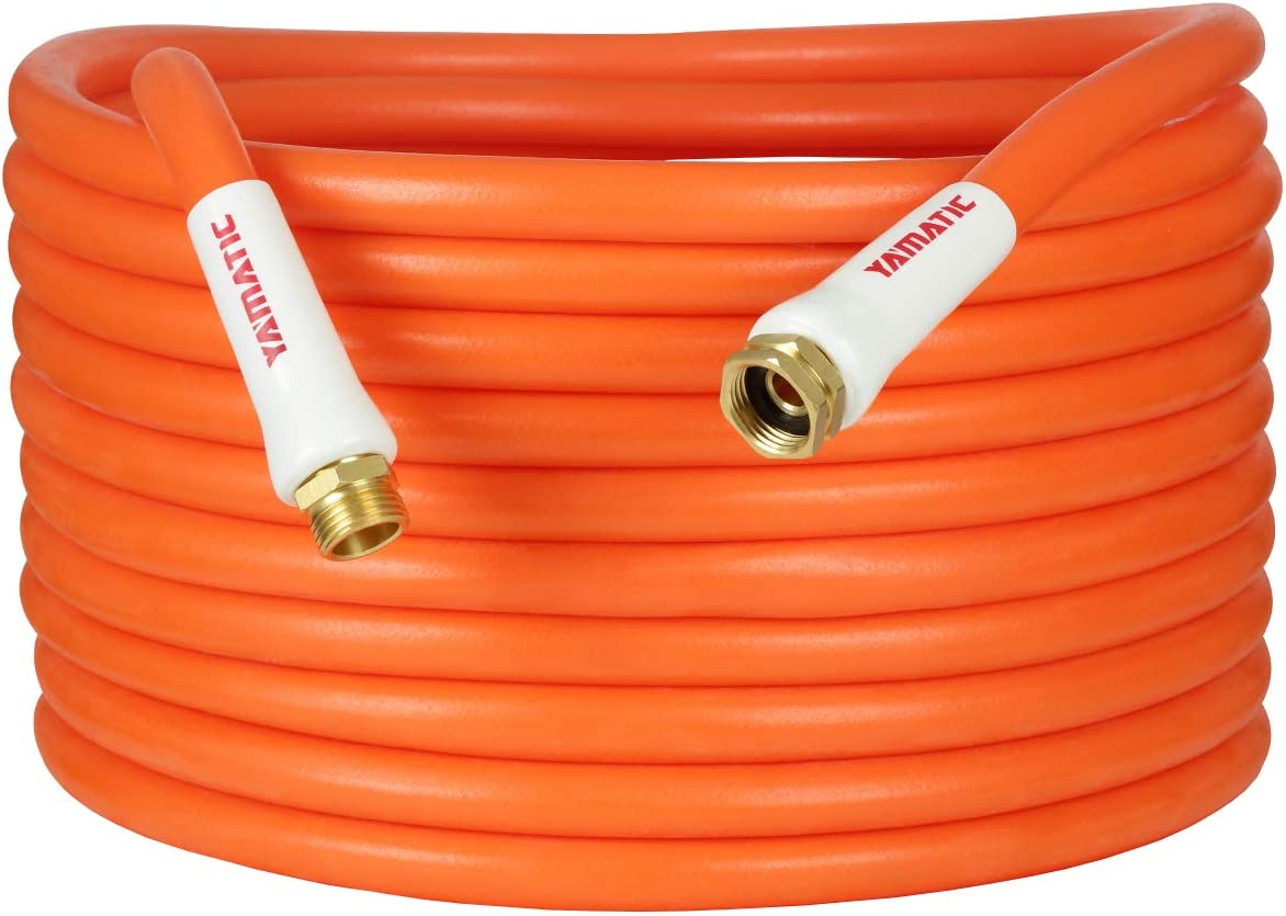YAMATIC Kink Free Garden Hose 5/8 in. x 30 ft All-Weather Flexibility Water Hose Hybrid, Light Weight, Enhanced Brass Connectors