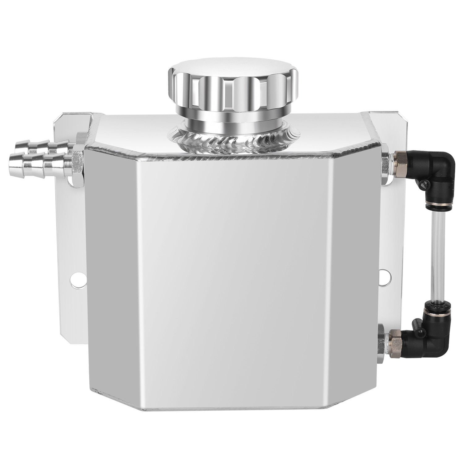 Polished Universal 1L Alloy Aluminium Water Overflow Expansion Coolant Tank Bottle with Drain Plug