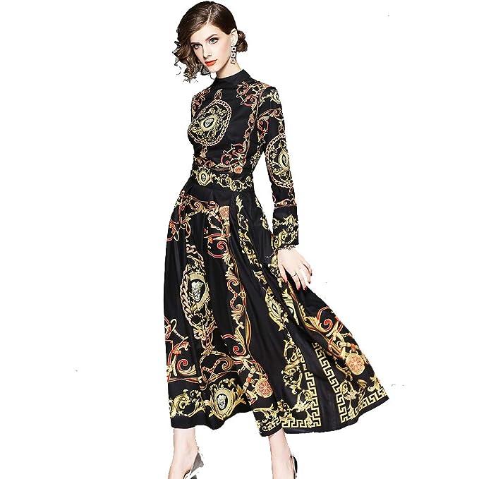 b6ce5963d Vestido de otoño con Negro Palacio Europeo Vintage Barroco impresión de  Alta Cintura de Manga Larga