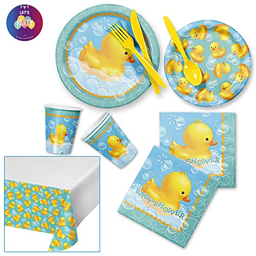 Rubber Ducky Baby Shower Decorations - Duck Bubble Bath Party Supplies Pack Bundle for 8 Guests - Dinner Plates Dessert Plates Napkins Table Cover Cups and Cutleries -