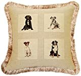 Corona Decor Dogs French Feather and Down Filled Woven Jacquard Decorative Pillow