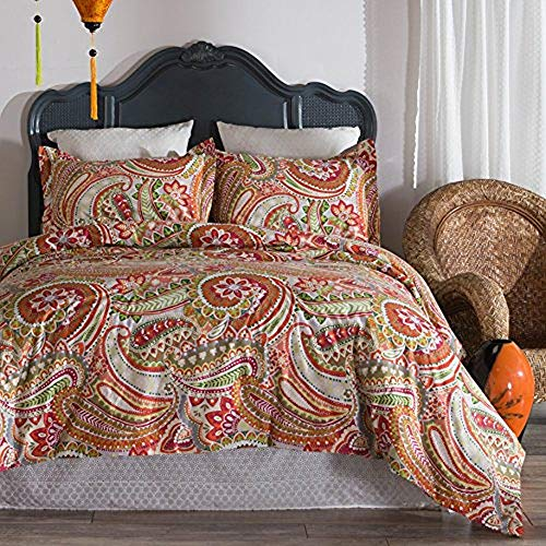 North End Decor Pomegranate Paisley 100% Cotton Reversible 3-Piece Comforter, King Bedding Sets, 110
