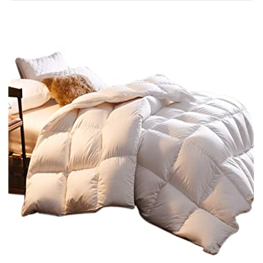Premium King Goose Down Comforter, Duvet Insert King Down Comforter,1000 Thread Count 100% Egyptian Cotton Cover,750+ Fill Power,White Solid Goose Down Comforter,Warm &Comfortable.