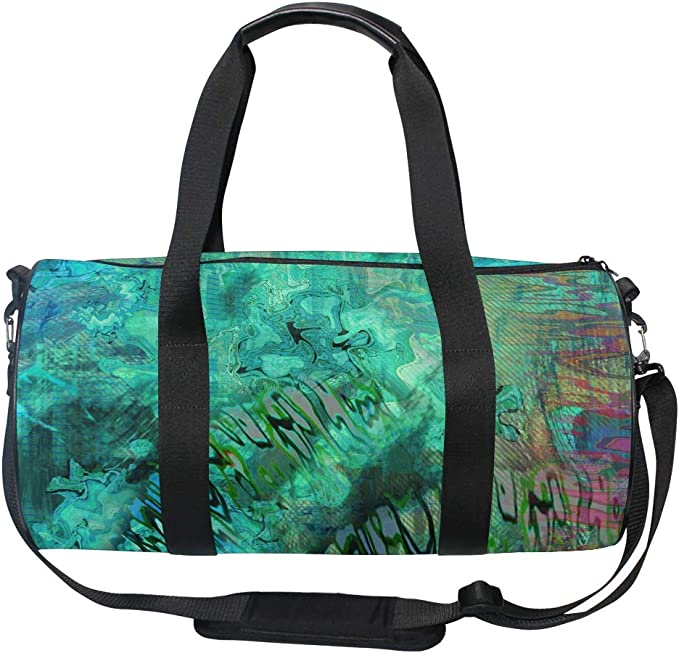 Blue Abstract Design Sports Travel Drum bag Gym Bag for Men Women with Compartment