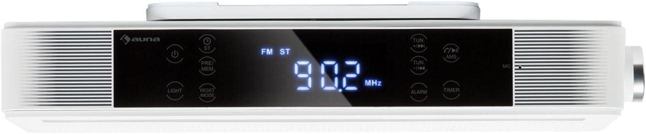 auna KR-140 Radio de Cocina Bluetooth - Instalación bajo Mueble, Función Manos Libres, Radio FM, 40 emisoras, Alarma Dual programable, Autoapagado, Altavoces estéreo, Control táctil, Blanco