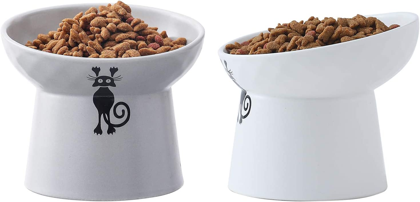 Tilted Raised Cat Food and Water Bowl Set,Elevated Cat Feeder Bowls with Stand,Ceramic Pet Bowls,Protect Pet's Spine,Backflow Prevention,2 Pack(White&Gray)
