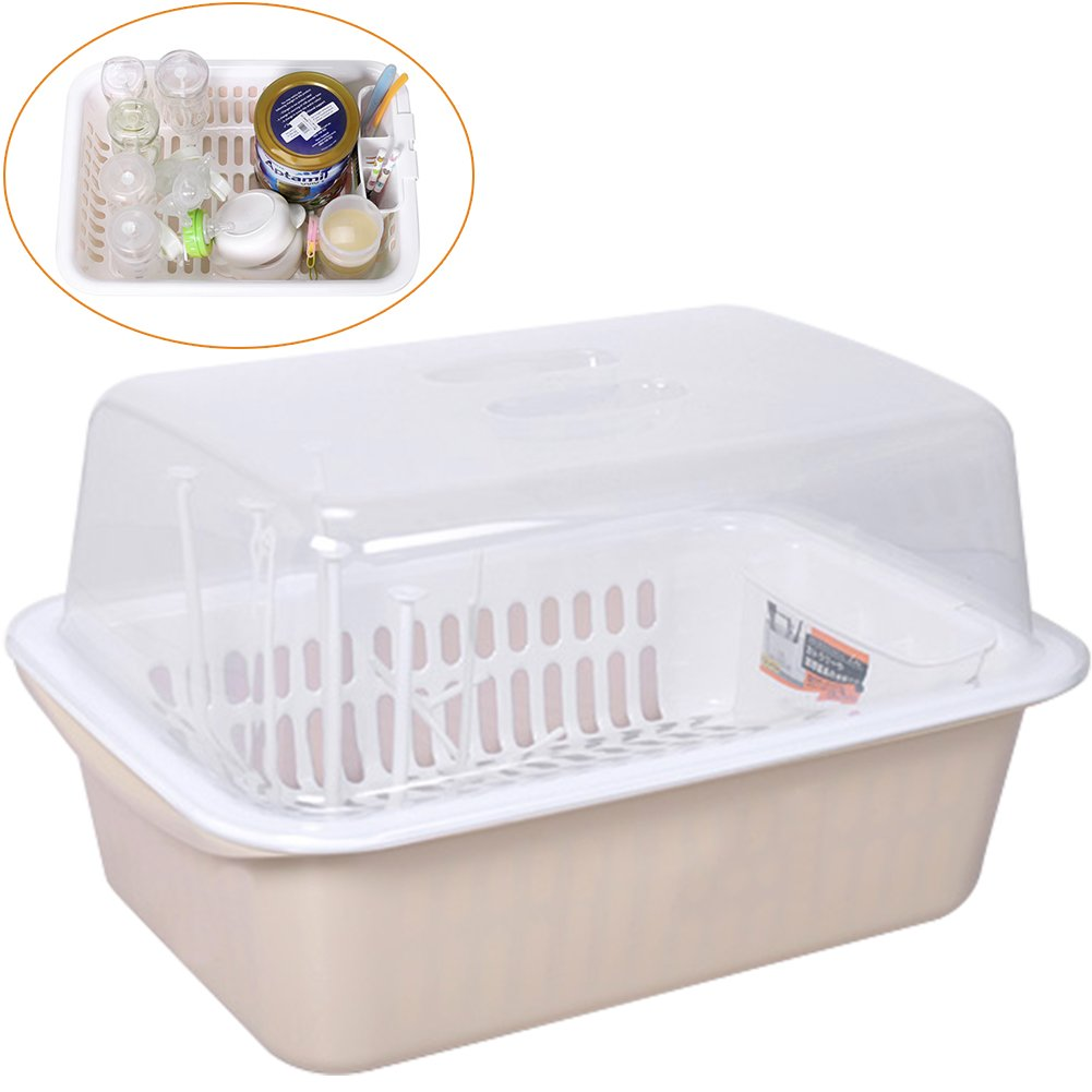 ZZ照明クリエイティブ赤ちゃんFeeding Bottle Organizerベビーテーブルウェアボックスwith防塵カバー乾燥ラックキッチン使用 15.9