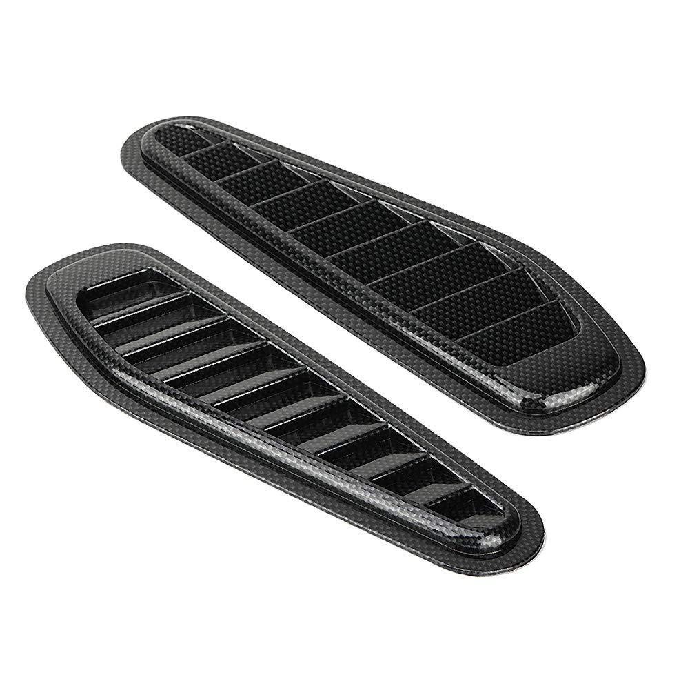 2pcs Carbon Fiber Style Car Decorative Air Flow Intake Scoop Bonnet Vent Hood Cover Universal Suuone Air Flow Intake Cover