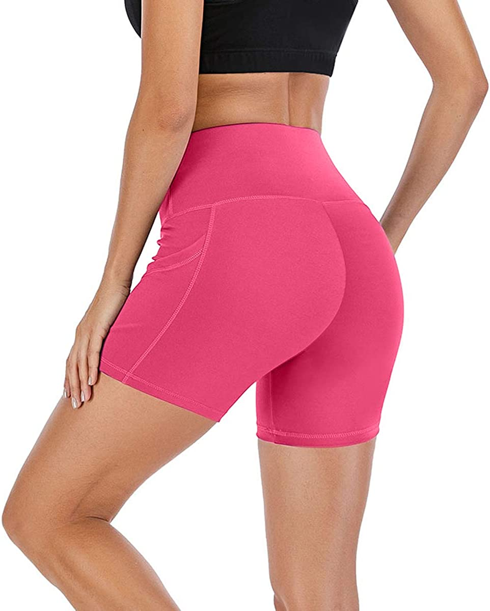FLORATA Workout Shorts for Women with Pockets Biker Shorts for Women High Waisted Yoga Shorts Athletic Running Shorts