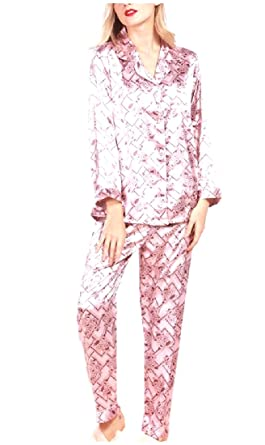 RDHOPE Women Charmeuse Long Pants Flower Print 2 Piece Loungewear Set 1 S 217424fca