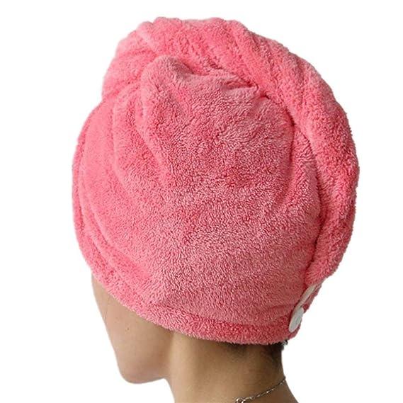 SwirlColor Dulce tipo seco de pelo del casquillo de fibra superfina toalla suave Baño abrigo de la cabeza del turbante - Peachblow: Amazon.es: Hogar