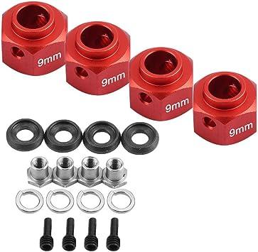 DEWIN Juego de Adaptador de Rueda de 9 mm RC Car Widen Compatible con TRAXXAS TRX4 RC4WDs D90 SCX10 1/10 Coche de Control Remoto(Rojo)