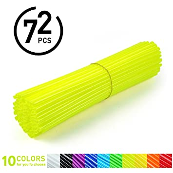 72Pcs Spoke Skins - Cubiertas de Radio de Rueda para Motocross, Bicicletas de Suciedad - 10 Colores (Color : Bright Yellow) : Amazon.es: Coche y moto
