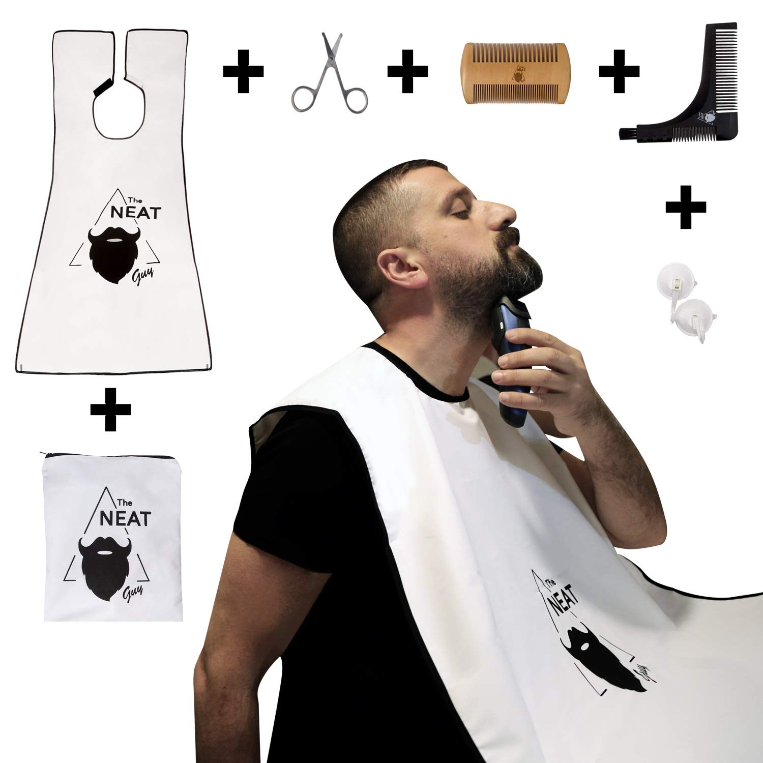The Neat Guy 6-PACK Beard Kit with Beard Apron / Bib for Mess-Free Shaving + Shaping Tool + valentines + Comb + Scissor + Bag, All you Need for a Good, Clean Shave, The Perfect Gifts For Husband / Mens