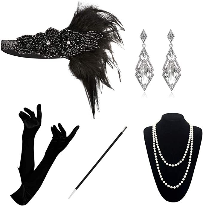 1920s Headband, Headpiece & Hair Accessory Styles 1920 Accessories Set - 1920s Flapper Costume Fancy Dress Gastby Accessories Vintage Feather Headband With Long Gloves For Women (Black4) £14.99 AT vintagedancer.com