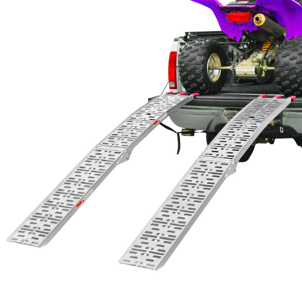 Clevr 7.5' X-Large Pair of ATV UTV Folding Arched Aluminum Ramps for Motorcycles, Dirt Bikes, 4 Wheelers,Lawnmowers Truck - 90