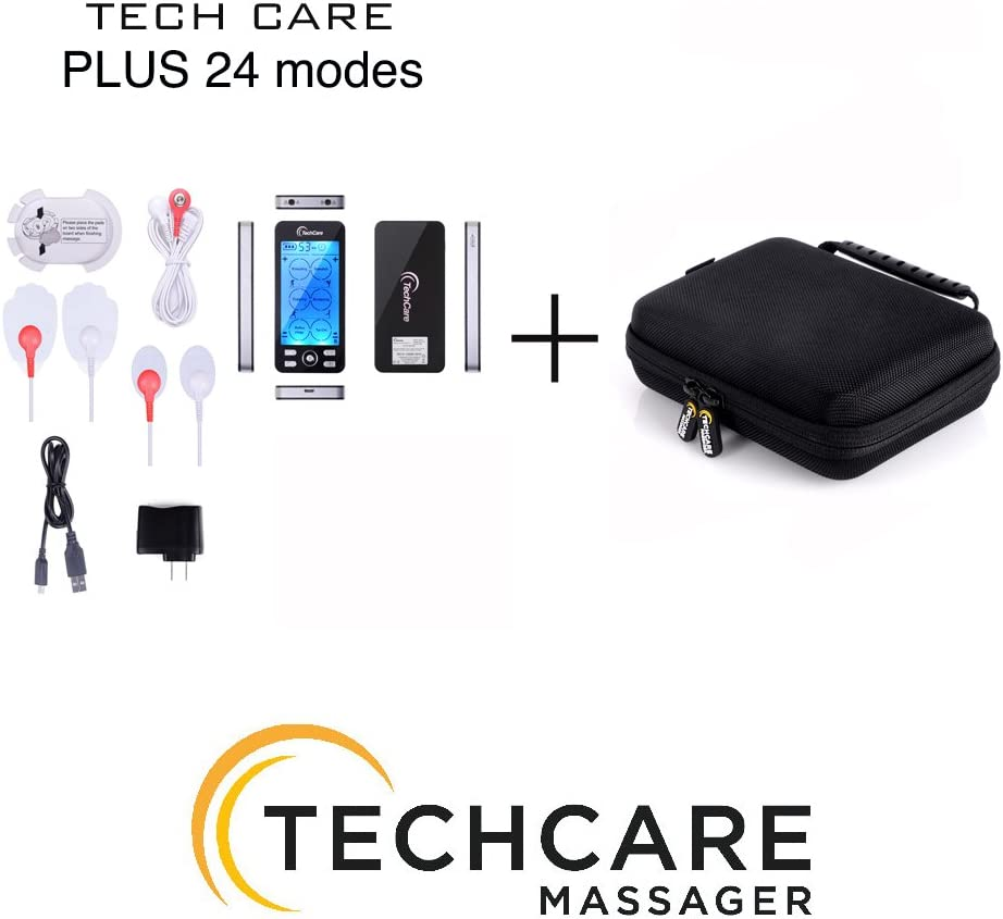 Tens Unit TechCare Plus 24 Massager [Lifetime Warranty] Muscle Stimulator Device Machine Pulse Massager with Protective Cover Case Sciatica Plantar Fasciitis Tennis Elbow Back Shoulder Neck: Health & Personal Care