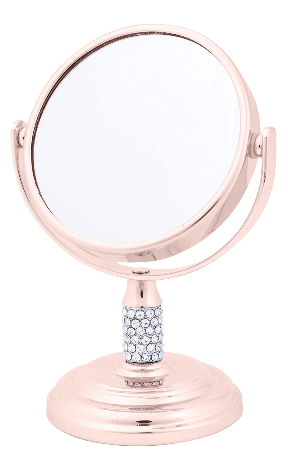 Danielle Creations 4X Magnification Dual Sided Crystal Studded Vanity Mirror, Mini, Rose Gold