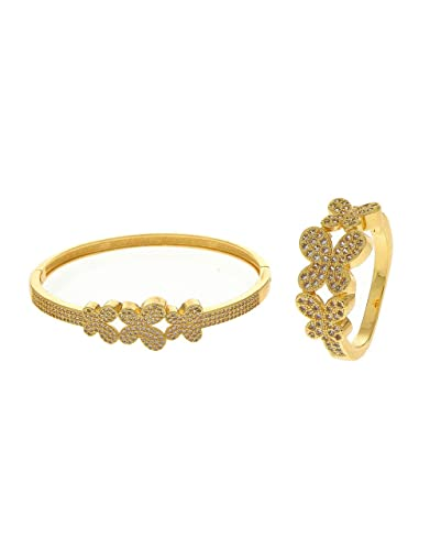 fd01070a6ccf20 Buy Anuradha Art Gold Finish Butterfly Inspired Wonderful Designer Hand Kada /Bracelet with Finger Ring for Women/Girls Online at Low Prices in India ...