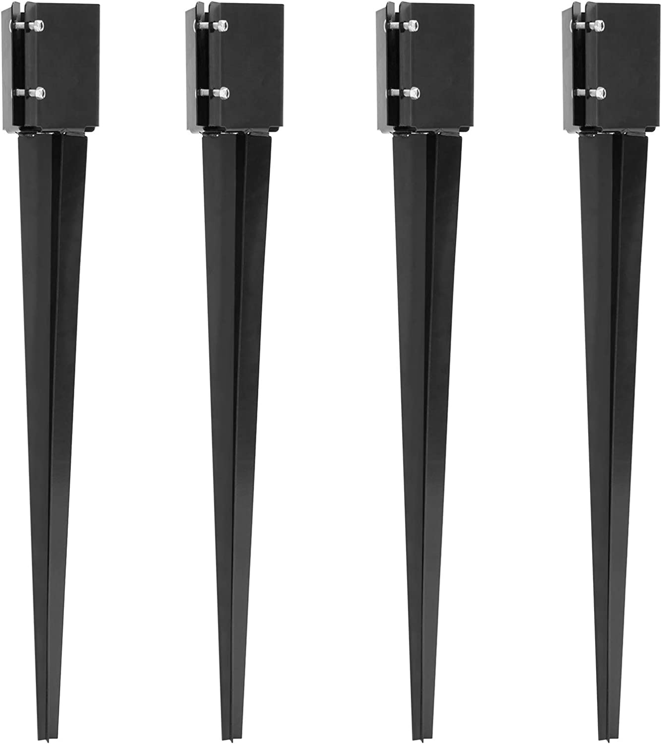 Doniks 4 Pack Fence Post Anchor Ground Spike 24 x 4X 4 inch Heavy Duty Metal Powder Coated Post Base for Mailbox Fence Guidepost Garden Ground Post Nail with Tightening Screws Lock Nuts