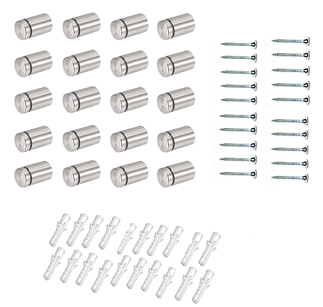 Stainless Steel Standoff Hardware Mounts Screws for Glass 19 x 30mm Silver Tone 20 Pcs
