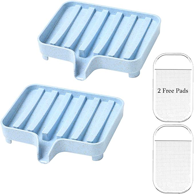 Draining Soap Dish Soap Saver Sponge Holder Soap Container With Waterfall Spout For Bathroom Shower Kitchen Sink Tub Countertop Laundry Keeps Dry Clean Blue 2 Pcs With 2 Free Non Slip Mats Home Kitchen Amazon Com