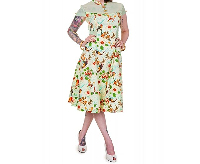 Banned – Retro 50s Vestido Mariposas y Flores Verde – Green Butterfly Vintage Dress Verde Small