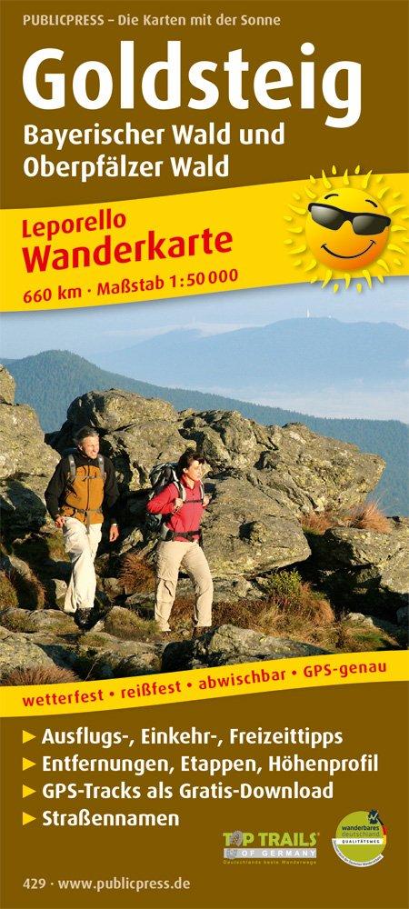 Goldsteig, Bayerischer Wald und Oberpfälzer Wald: Leporello Wanderkarte mit Ausflugszielen, Einkehr- & Freizeittipps, wetterfest, reissfest, ... 1:50000 (Leporello Wanderkarte / LEP-WK)