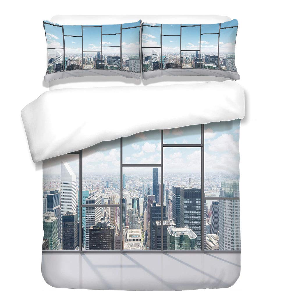 3Pcs Duvet Cover Set,Modern Decor,Office with Big Wide Windows City Building Skyscrapers View Art Photo,Sky Blue and Grey,Best Bedding Gifts for Family/Friends