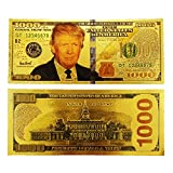 Trump $1,000 Dollar Gold Bill – President Donald J. Trump Gold Plated US $1,000 Bank Note, a Novelty Trump Currency Note – Collector's Item by AIIZ Collectibles