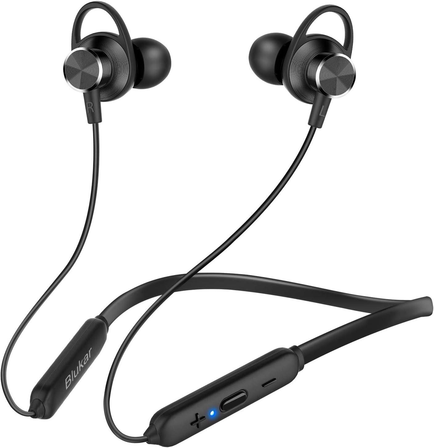 Blukar Auriculares Bluetooth 5.0, Auriculares Inalámbricos Bluetooth Deportivos Magnético In-Ear Estéreo HiFi con Micrófono Anti-Sudor y Cancelación de Ruido Duración 10H para iOS Android