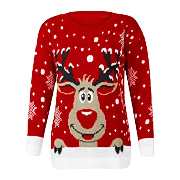 aeba5ca32d Unique Women Christmas Sweater Warm Deer Printed Knitted Sweatershirt Warm Pullover  Jumper Tops Knitwear (Freesize