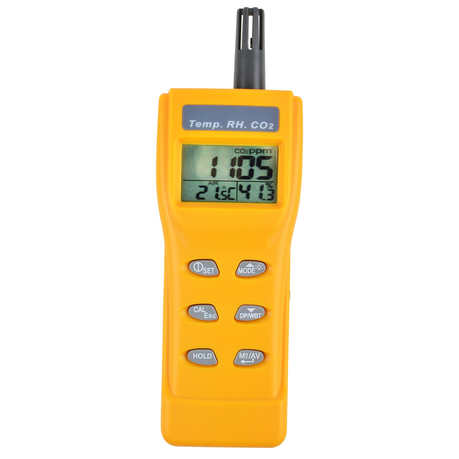Digital Indoor Air Quality 9999ppm Temperature Humidity NDIR Sensor Carbon Dioxide CO2 Wet Bulb (WB) Dew Point (DP) CO2 Air Monitor Tester Indoor Air Quality (IAQ) Diagnosis by Gain Express