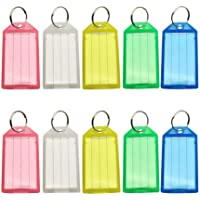 ASkinds 24 Pack Transparent Plastic Tags Tough Plastic Key Tags with Split Ring Label Window Assorted Colors