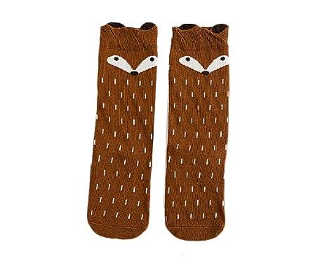 design intemporel cd9ea 6d86f I LOVE DIY Chaussettes Hautes Genou Enfant Fox Animaux Longue Bébé Fille  Coton pour 0-12 ans