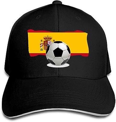 Fantasy Town Gorra de béisbol Unisex Balón de fútbol con Gorra de Camionero de algodón con Bandera de España Gorras de Ventilador de Deporte clásicas Ajustables Negro: Amazon.es: Ropa y accesorios