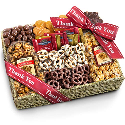 With Sympathy Chocolate Caramel and Crunch Grand Gift Basket with Snacks