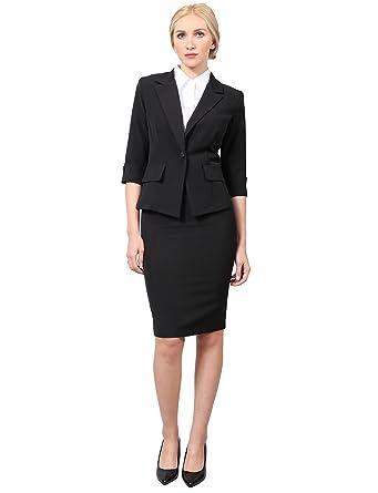 Amazon Com Ne People Women S Classy 3 4 Sleeve Blazer And Skirt
