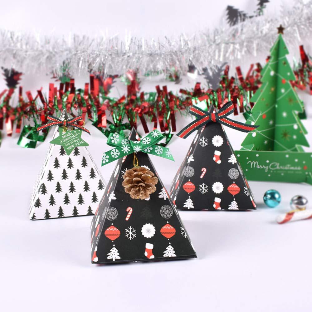 9,8 x 11,5 cm Nero Confezione da 10 scatole regalo natalizie a piramide con nastro per caramelle