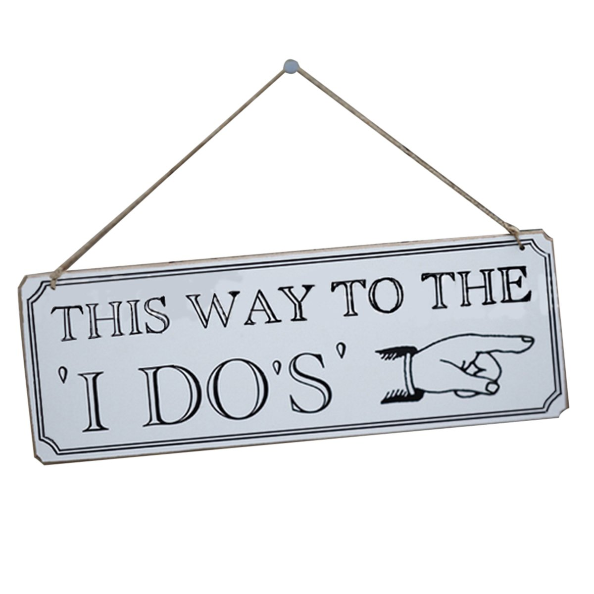 NUOLUX Wooden Hanging Decoration This Way to The I Do Sign for Weddings (White)