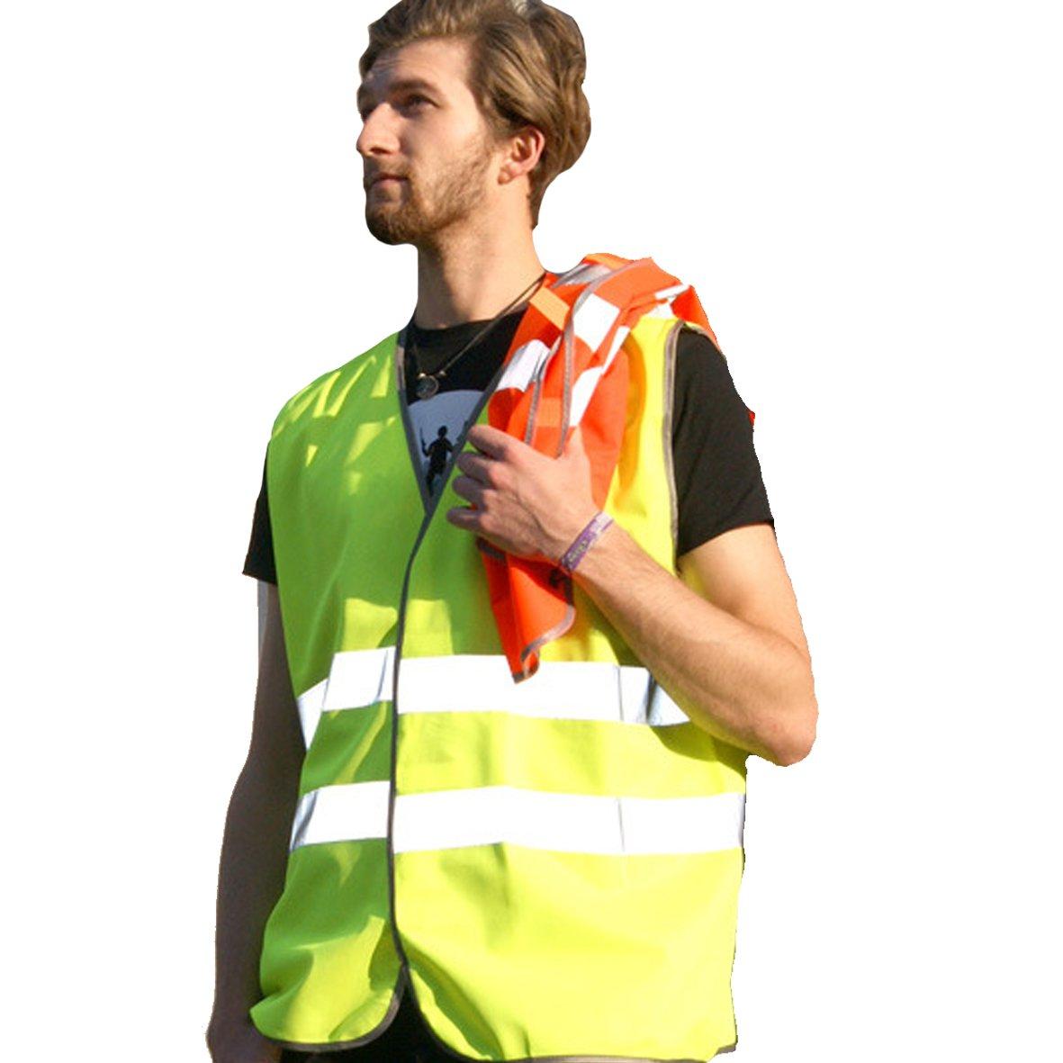 """reflektierende Rettungsweste Warnweste Unfallweste f/ür Rettungskr/äfte und freiwillige Feuerwehr mit Aufdruck /""""Einsatzleiter/"""" SHIRT-TO-GO neongelbe"""